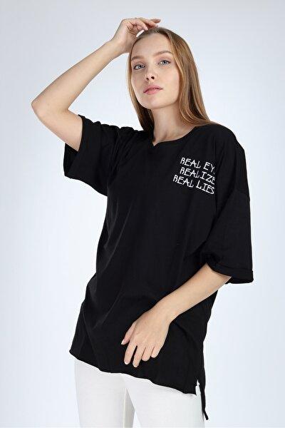 Kadın Siyah Real Eyes Oversize T-shirt
