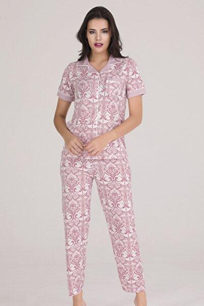 Kadın Gül Kurusu Desenli 5 Düğmeli Kısa Kollu Pijama Takımı