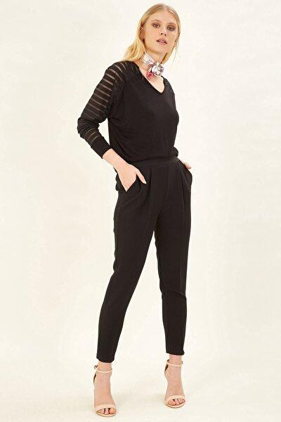 Kadın Siyah Pileli Lastikli Pantolon
