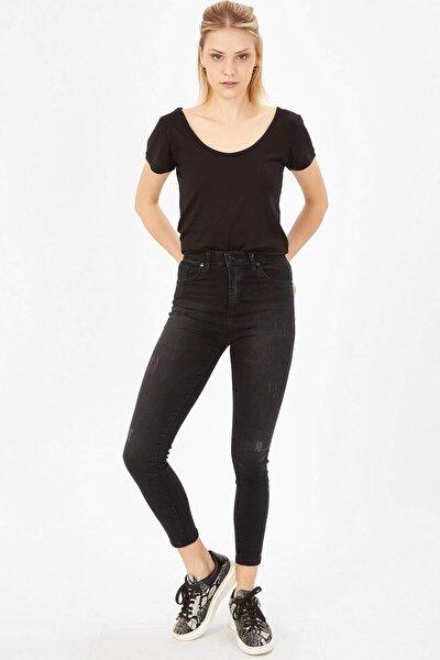 Kadın Siyah Taşlanmış Lazerli Yüksek Bel Likralı Pantolon