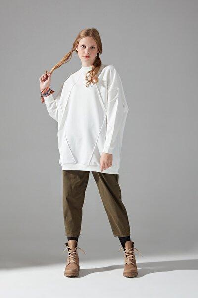 Kadın Ekru İki İplik Dikişli Sweatshirt