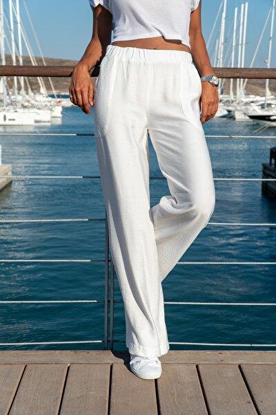 Kadın Beyaz Keten Beli Lastikli Salaş Pantolon GK-BST2933