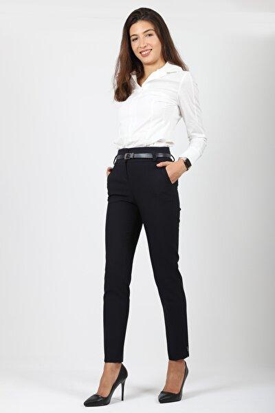 Kadın Kemerli Slim Fit Düz Renk Pantalon
