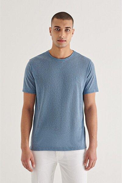 Erkek Indigo Bisiklet Yaka Düz T-shirt A11y1112