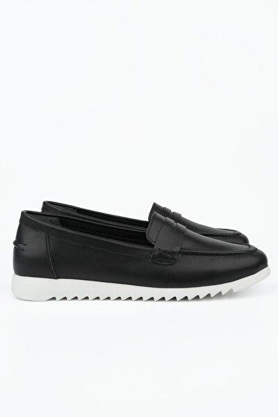 Kadın Siyah Hakiki Deri Loafer Ayakkabı Vonlez