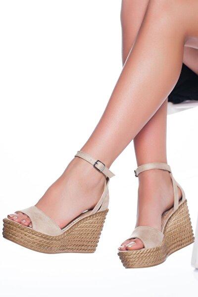 Kadın Ten Süet Dolgu Topuklu Ayakkabı