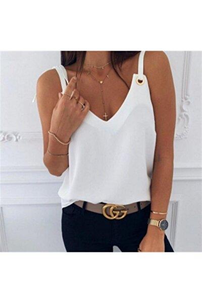Kadın Beyaz Sandy Kumaş Askılı Bluz 5565cm Ayarlanabilir