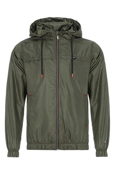 Erkek Haki Suya Dayanıklı Kapüşonlu Içi Astarlı Cepli Yağmurluk - Rüzgarlık Ceket