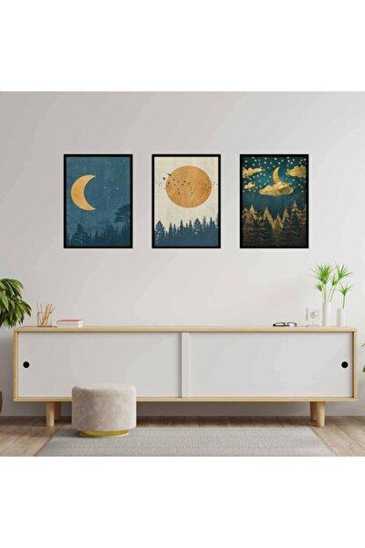 Moon Retro Motto Tasarım Duvar Panosu 3'lü Set 20x30 Cm