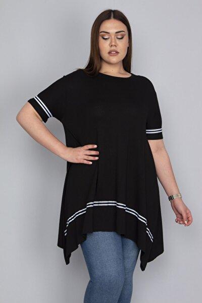 Kadın Siyah Şerit Detaylı Asimertik Tunik 65N23133