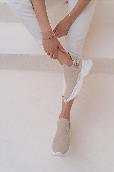Costel Kadın Nude Trıko Taşli Ayakkabi