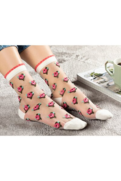 Beauty Kadın Şeffaf Soket Çorap Pembe