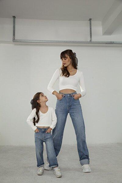 Kadın Mavi Uzun Straight Jean