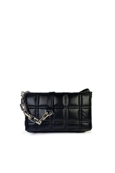 Siyah Kare Nakışlı Plastik Zincirli Askılı El Ve Omuz Çantası Gc003400