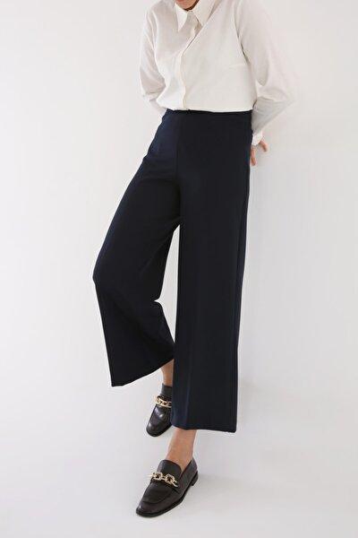 Kadın Lacivert Ütü İzli Bol Paça Pantolon