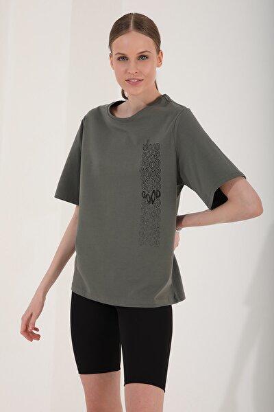 Kadın Çağla Deforme Yazı Baskılı Oversize O Yaka T-shirt - 97134