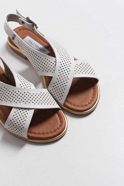 Kadın Beyaz Lazerli Sandalet