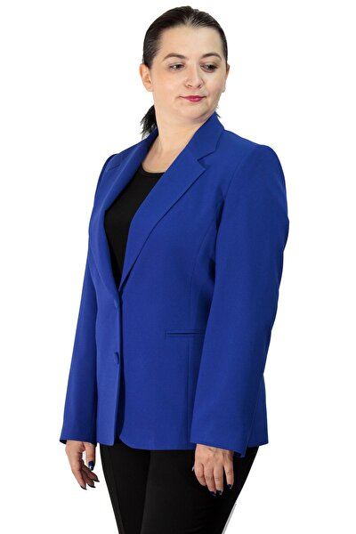 Kadın Saks Büyük Beden Düğmeli Klasik Ceket