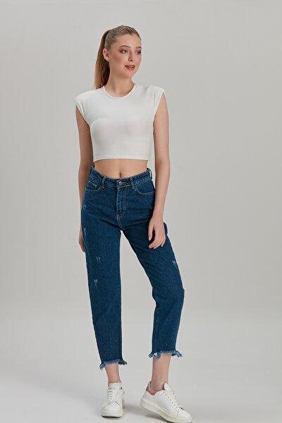 Kadın Mavi Mom Style Paça Püskül Lazer Detay Jean