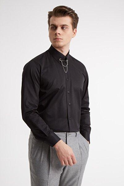 Erkek Siyah Yaka Filketeli Zincirli Pamuk Gömlek - Slım Fıt