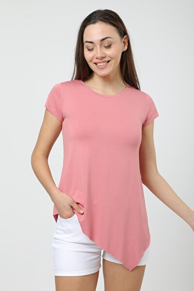 Kadın Pudra Asimetrik Kesim Uzun Basic T-shirt