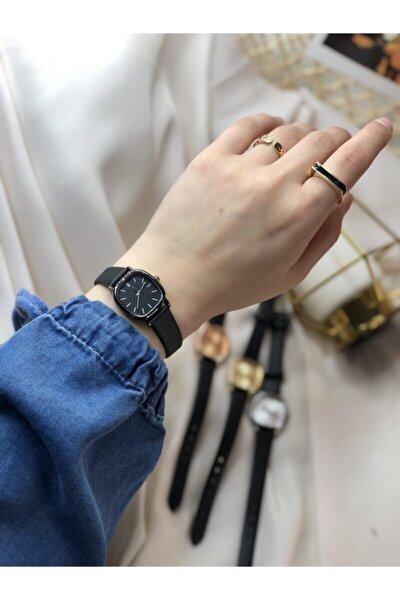 Retro Minimal Deri Kordon Kadın Kol Saati - Siyah