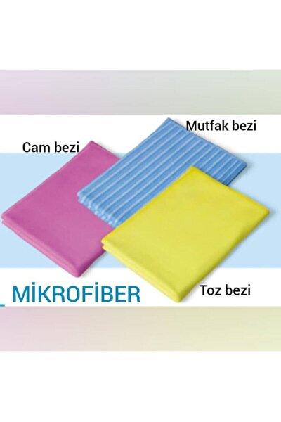 Mikrofiber Klasik Üçlü Temizlik Seti (cam Bezi- Mutfak Bezi- Toz Bezi ) Dg