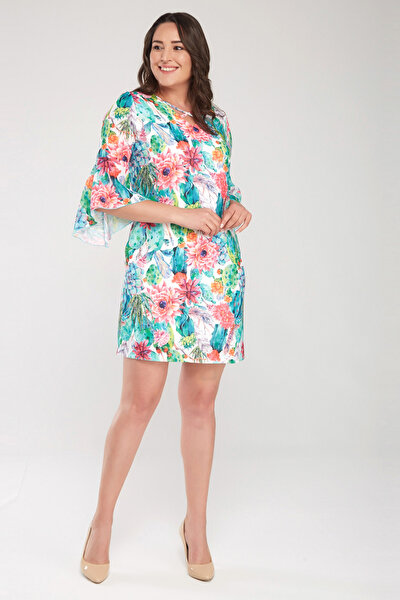 Kadın Desenli Kol Ve Yaka Biye Detaylı Elbise 17LB9111