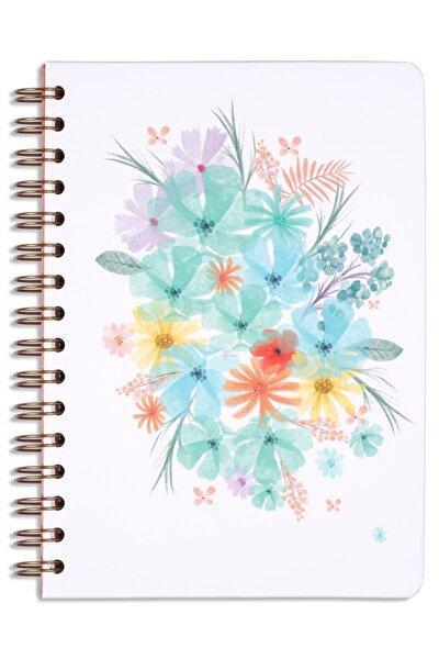 A5 Süresiz Planlayıcı Ajanda Turkuaz Çiçekler