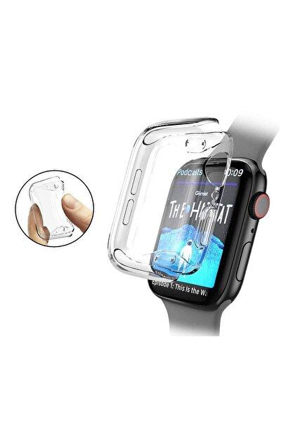 Apple Watch 1 2 3 4 5 6 Se Serisi ( 40mm ) 360 Tam Koruma Şeffaf Silikon Kılıf