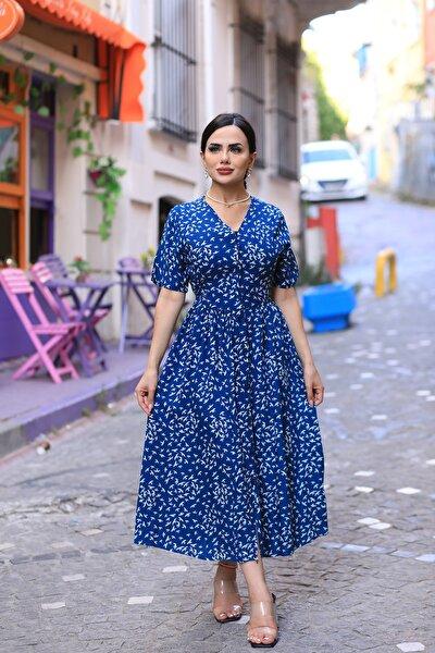 V Yaka Viskon Kumaş Çiçek Desenli Yazlık Elbise