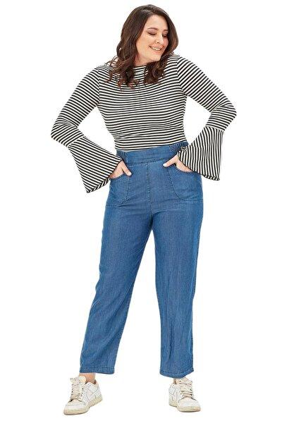 Kadın Pantolon Nvr4101 Jean Normal Bel Geniş Paça-mavi