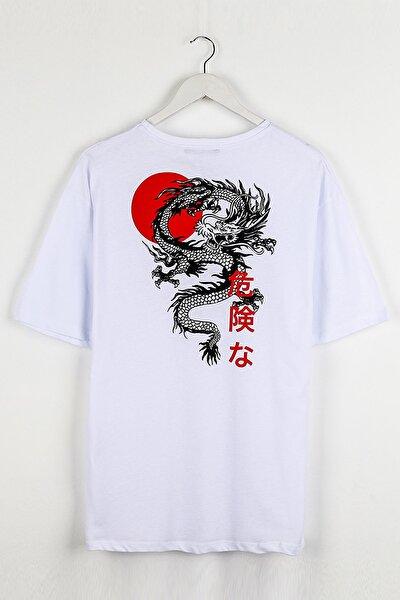 Japon Karakter Sırt Baskılı Beyaz Unisex Tshirt