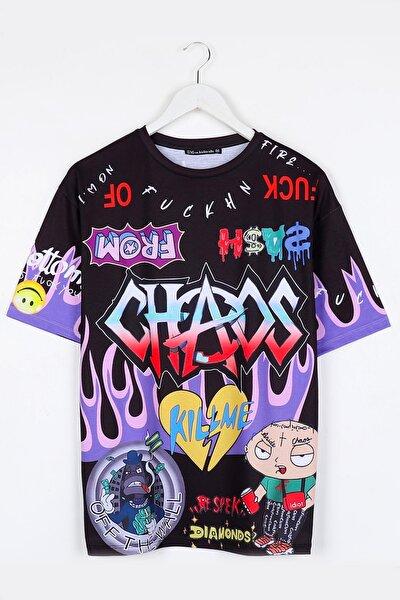 Chaos Dijital Baskılı Oversize Siyah Unisex Tshirt