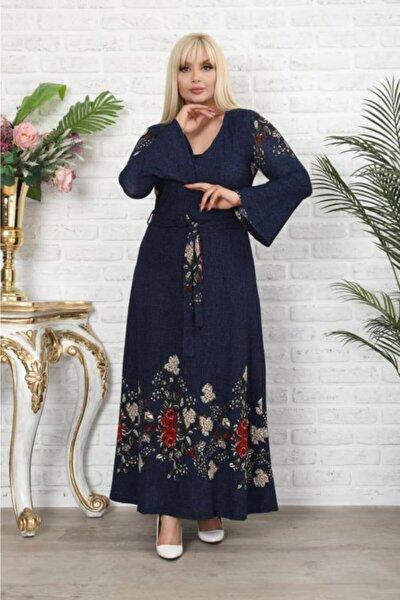 Kadın Büyük Beden Lacivert Çiçek Desenli Kruvaze Yaka Elbise