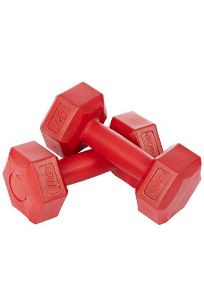 1 Kg X 2 Adet Köşeli Kırmızı Plastik Dambıl Ağırlık Seti