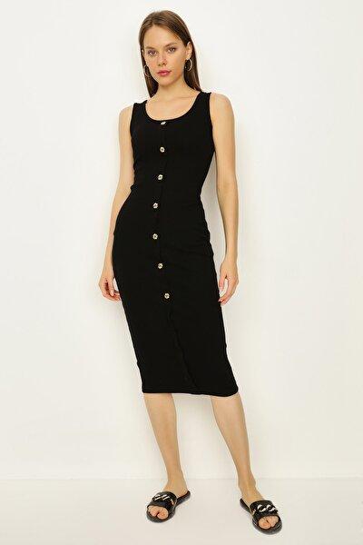 Kadın Siyah Fitilli Düğme Detaylı Midi Elbise