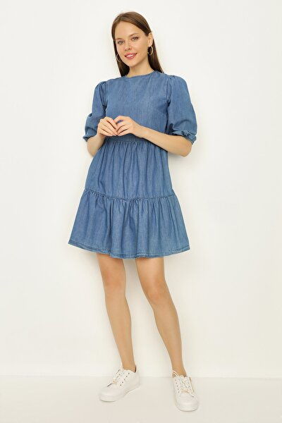 Kadın Mavi Balon Kollu Blok Detaylı Denim Elbise