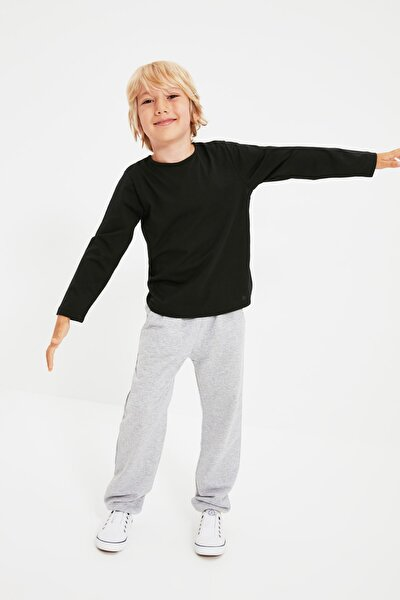 Gri Jogger Unisex Çocuk Örme İnce Eşofman Altı TKDSS21EA0228