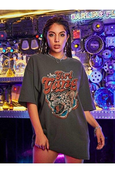 Kadın Girl Gang Antrasit Oversize T-shirt