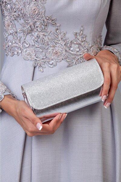 Kadın Gümüş Gri Simli Abiye Portföy & Clutch El Çantası
