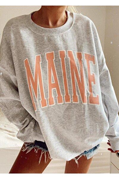 Gri Yazılı Sweatshirt