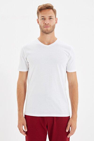 Beyaz Erkek Basic Slim Fit V Yaka Kısa Kollu T-Shirt TMNSS19BO0002