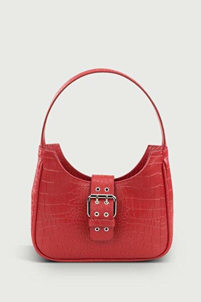 Kadın Kırmızı Tokalı Desenli Çanta 209