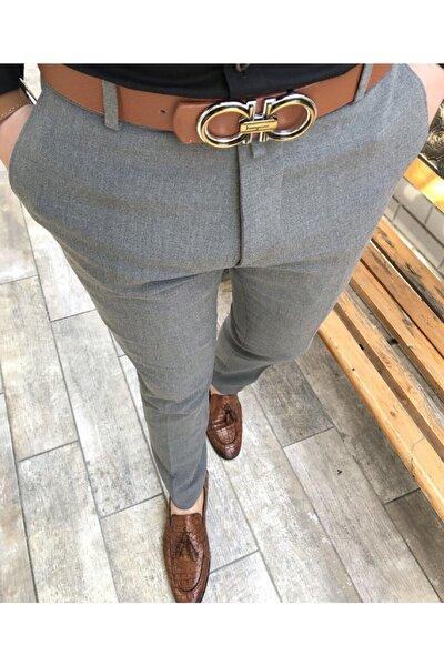 Erkek Gri İtalyan Kesim Slim Fit Kumaş Pantolon