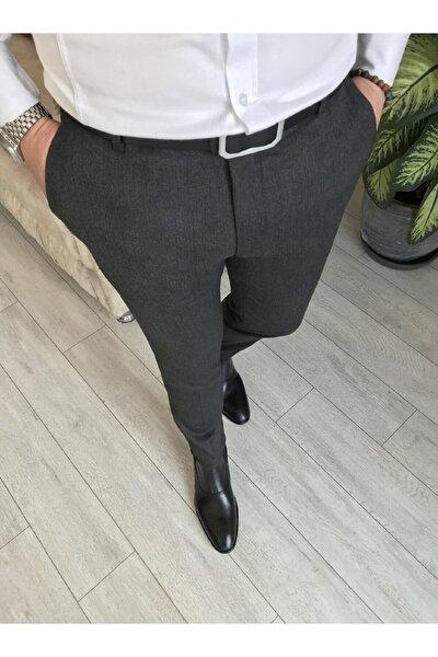 Antrasit Italyan Kesim Slim Fit Kumaş Pantolon