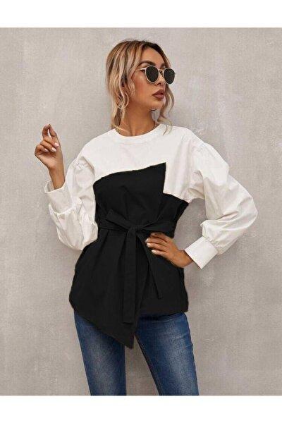 Kadın Tunik Atlas & Poplin Kumaş Kurdeleli Siyah Beyaz