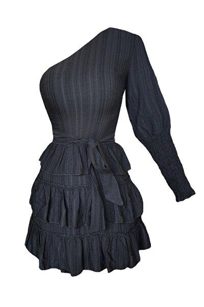 Kadın Siyah Tek Omuzlu Keten Volanlı Astarlı Mini Elbise