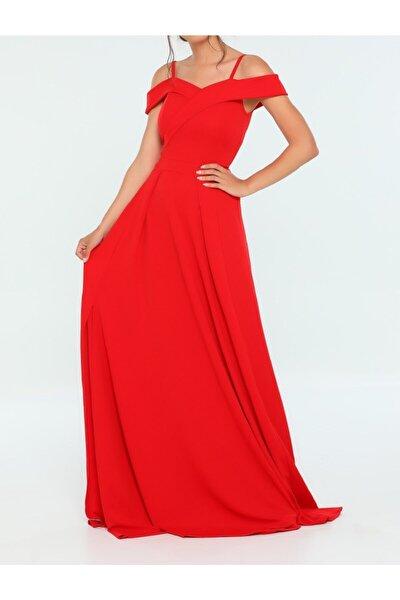 Kruvaze Yakalı Ince Askılı Yırtmaç Detaylı Kırmızı Abiye Elbise Siyah Nişan Elbisesi Emr-078