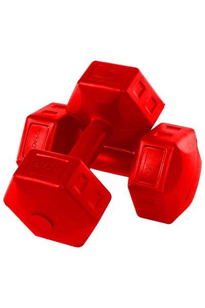 5 Kg X 2 Adet Köşeli Kırmızı Plastik Dambıl Ağırlık Seti